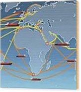World Shipping Routes Map Wood Print by Atiketta Sangasaeng