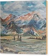 Wyoming Sunrise Wood Print by Jean Ann Curry Hess