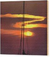 Yacht At Sunset Wood Print