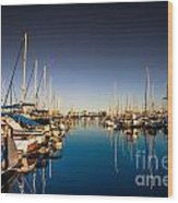 Yacht At The Pier  Wood Print
