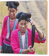 Yao Ethnic Minority Women On Rice Terrace Guilin China Wood Print