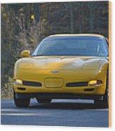 Yellow Corvette Wood Print