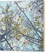 Yellow Leaves Vintage Wood Print