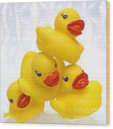 Yelow Ducks Wood Print by Bernard Jaubert