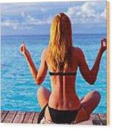 Yoga Exercise On Seashore Wood Print