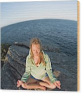 Yoga On Rocky Outcrop Above Ocean Wood Print