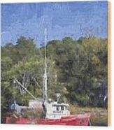 York Harbor Maine Painterly Effect Wood Print