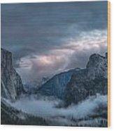 Yosemite In Clouds Wood Print