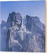 Yosemite Stone And Snow Wood Print