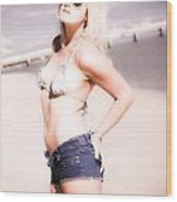 Young Attractive Travel Woman At Beach Wood Print