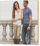 Young Couple Bridge Wood Print