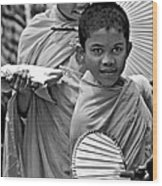 Young Monks Bw Wood Print