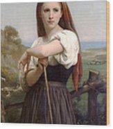 Young Shepherdess Wood Print
