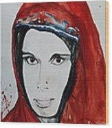 Young Woman From India - Painting Wood Print by Ismeta Gruenwald