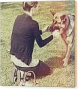 Young Woman In 20s Playing Fetch With Her Dog Wood Print