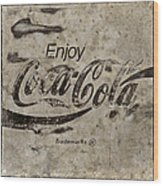 Coca Cola Sign Grungy Retro Style Wood Print