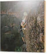 A Man Rock Climbing In Pinnacles Wood Print