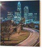 Charlotte City Skyline Night Scene Wood Print