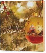 Christmas Tree Ornaments Wood Print
