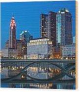 Fx2l-516 Columbus Ohio Night Skyline Photo Wood Print