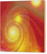 Orange Energy-spiral Wood Print