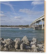 Fishing At Sebastian Inlet In Florida Wood Print