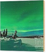 Intense Display Of Northern Lights Aurora Borealis Wood Print