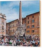 Piazza Della Rotonda In Rome Wood Print