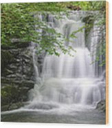 Stunning Waterfall Flowing Over Rocks Through Lush Green Forest  Wood Print