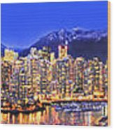 Vancouver Skyline Panorama Wood Print
