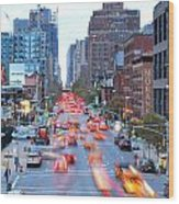10th Avenue Rush Hour Wood Print