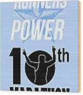 10th Marathon Race Poster  Wood Print