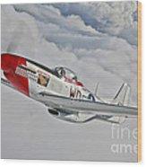 A P-51d Mustang In Flight Wood Print