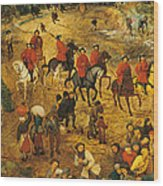 Ascent To Calvary, By Pieter Bruegel Wood Print