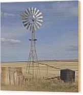 Australia - Windmill In The Wheat Field Wood Print