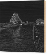 Captain Of The Houseboat Surveying Canal Wood Print