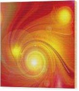 Orange Energy-spiral Wood Print