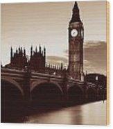 London At Dusk Wood Print