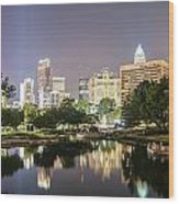 Skyline Of Uptown Charlotte North Carolina At Night Wood Print