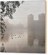 Stunning Moat And Castle In Autumn Fall Sunrise With Mist Over M Wood Print