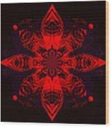 1107 - Mandala Red   Wood Print