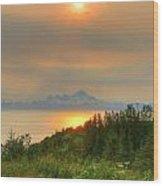 11pm Sunset Iliamna Wood Print
