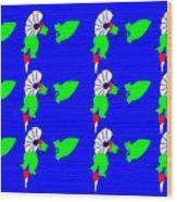 12 Bindweed Flowers on blue Wood Print