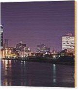 City Lights Skyline Wood Print