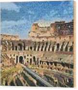 Colosseum In Rome Wood Print