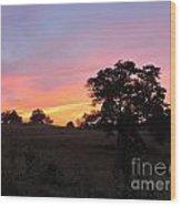 Farm Sunset Wood Print