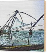 Fishing Nets On The Sea Coast In Alleppey Wood Print