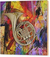 French Horn Wood Print