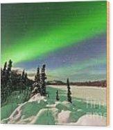 Intense Display Of Northern Lights Aurora Borealis Wood Print
