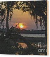 Lowcountry Spanish Moss Sunset Wood Print